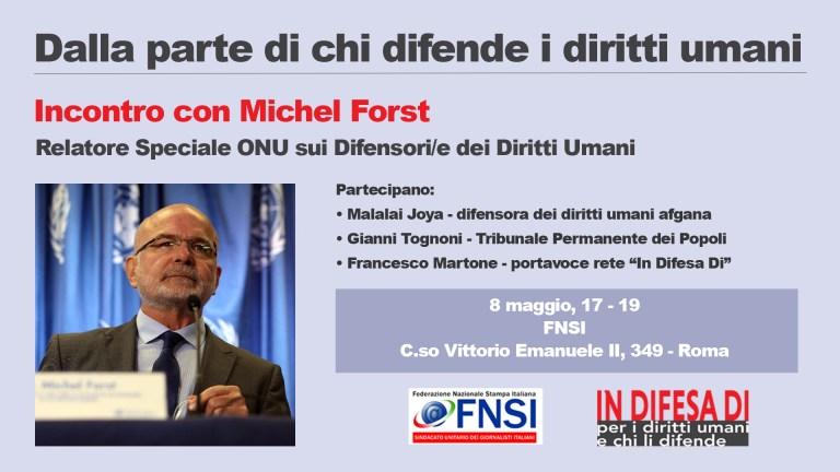 Michel Forst, Special Rapporteur Nazioni Unite sui HRD a Roma